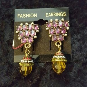 Heidi Daus amethyst and topaz clip earrings